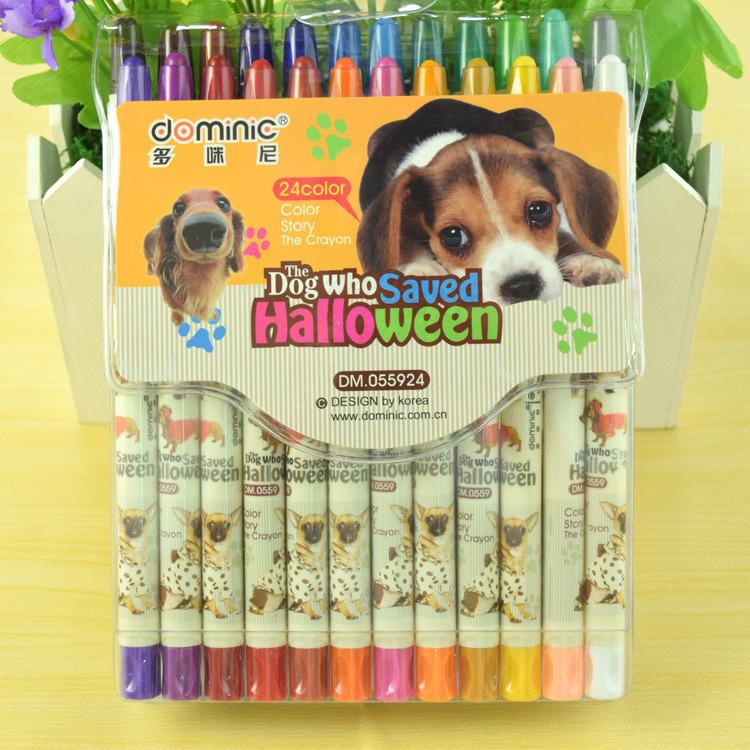 旋转塑料蜡笔 不脏手12色儿童彩色可爱卡通画笔套装美术画材批发