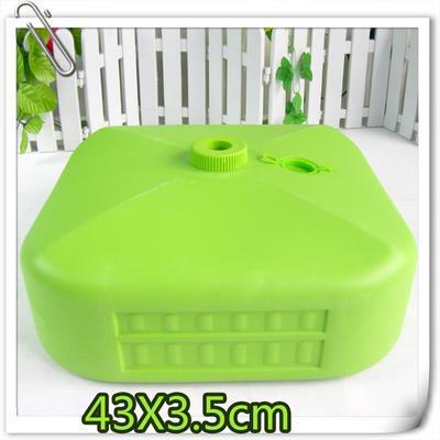 销售定制广告太阳伞浅绿塑料注水底座 结实耐摔装水装沙底座 印字