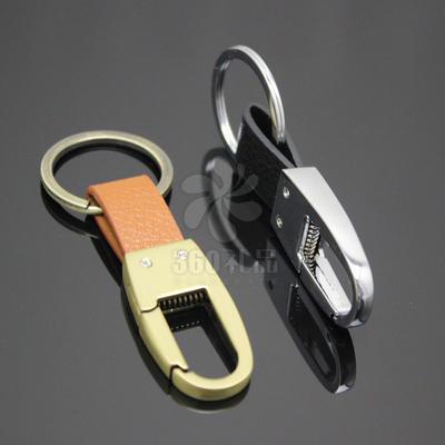 新款男士真皮汽车钥匙扣 创意金属钥匙挂件批发 定制 LOGO 1005