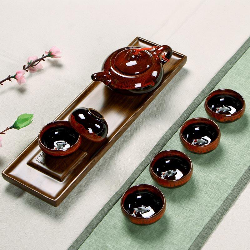厂家直销 7头带鲤鱼窑变茶具 礼盒装茶具套装 高档商务礼品 冰裂