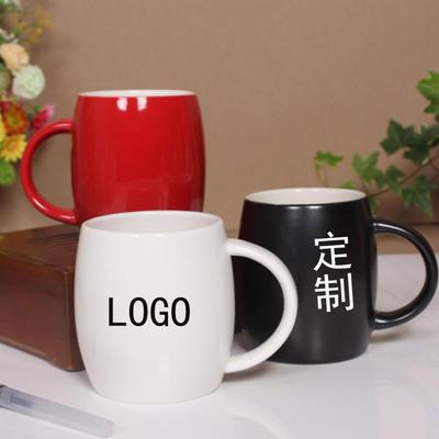厂家亮光白创意杯子批发 磨砂酒桶形个性马克杯 陶瓷杯子定制LOGO