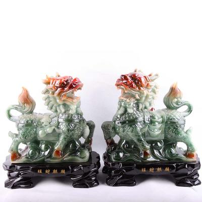 中式风格树脂工艺品旺财麒麟对摆件 商务礼品家居摆设批发1350