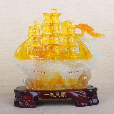 新款 精品蜜蜡一帆风顺船工艺品 树脂风水摆件