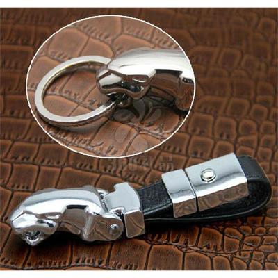 捷豹钥匙扣豹头真皮钥匙扣真皮镀金创意个性腰挂车家用钥匙链