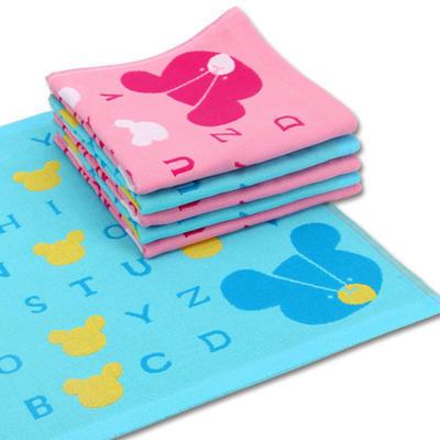方巾 厂家批发 100纯棉布艺方巾儿童纱布 字母熊方巾 批发