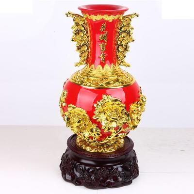 【新款】精品花瓶金间红工艺品 树脂招财摆件