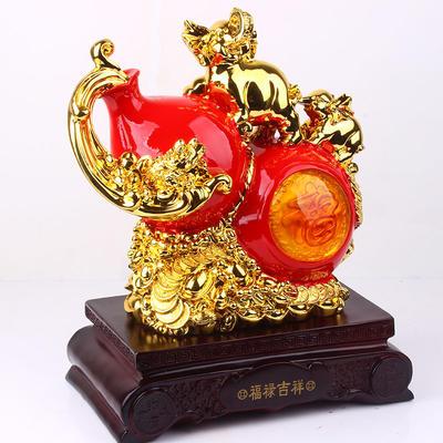 精品金间红葫芦摆件 树脂工艺品 商务礼品摆件