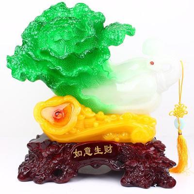 【新款】仿玉白菜摆件 树脂羊工艺品 羊年促销礼品
