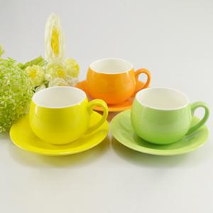 定制广告陶瓷杯色釉咖啡杯碟 新款色釉咖啡杯碟马克杯