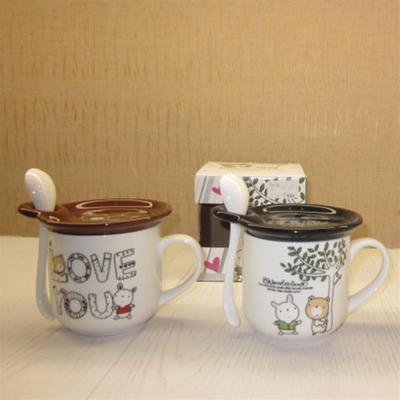 批-创意小熊陶瓷盖杯/带勺骨瓷杯/礼品杯/马克杯/陶瓷杯/咖啡杯