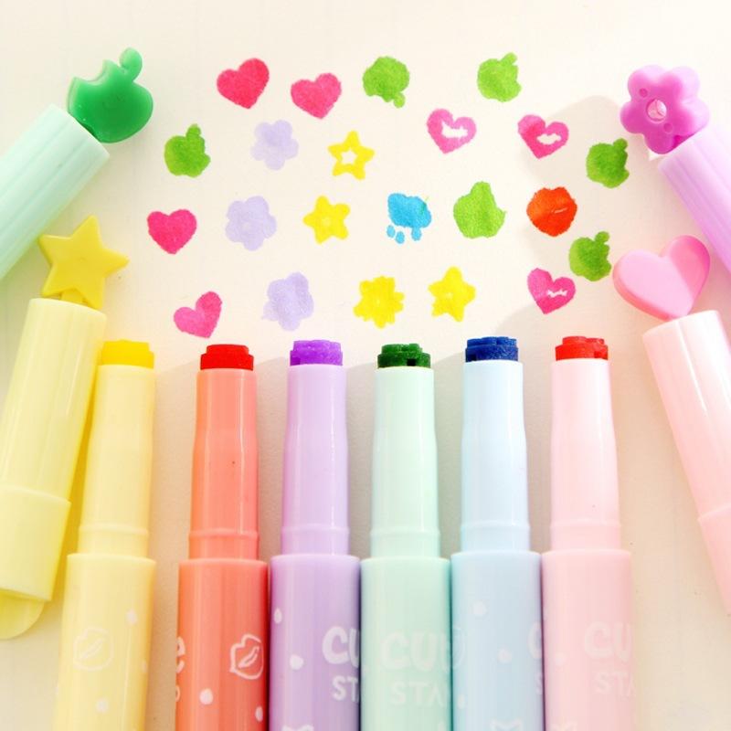 韩国文具 可爱印章荧光笔 果冻创意糖果色异形头记号笔