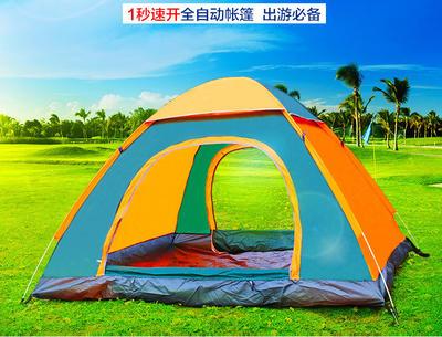 自动帐篷 3-4人免搭建速开帐篷 防暴雨户外自动帐篷赠品LOGO定制