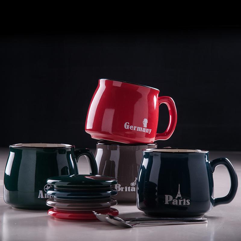 咖啡杯汉山陶瓷杯带盖勺 创意马克杯早餐杯办公室情侣水杯牛奶杯