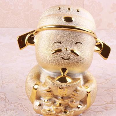 新款陶瓷招财金色财神爷摆件工艺品 中式风格家居摆设