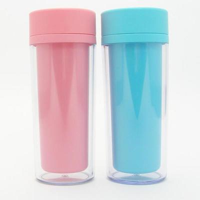广告个性创意杯子 多色双层隔热防漏便携pp环保塑料杯定制 带提绳保温杯批发