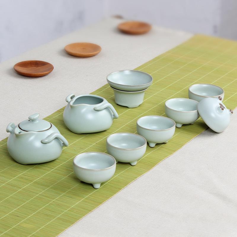 厂家10头汝窑茶具套装骨瓷汝瓷开片整套德化陶瓷茶具定制礼品logo