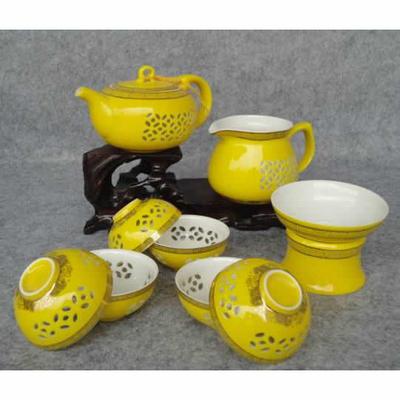 玲珑紫砂茶具10头玲珑黄瓷(茶壶) 会议商务活动礼品