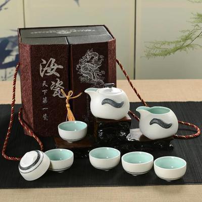 陶瓷茶具8头雪花釉(企鹅壶打线) 会议商务活动礼品