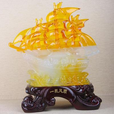新款 精品帆船摆件 一帆风顺树脂家居风水工艺品