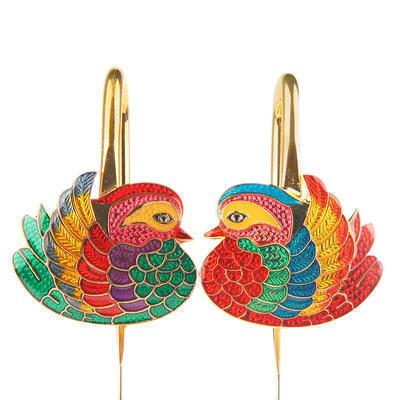 泰蓝鸳鸯镀金书签中国风特色礼品情人节创意新婚礼物包邮