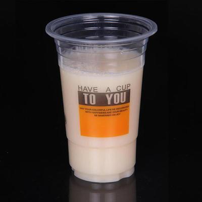 厂家直销500ml绿豆沙冰杯、一次性塑料奶茶 可印Logo 5万只起订