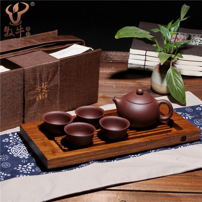 定做 宜兴原矿紫砂壶西施重竹旅行茶具套装礼品LOGO批量定制混批
