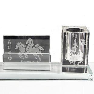 水晶笔筒 创意笔筒 笔筒二件套商务礼品 公司定制logo礼品