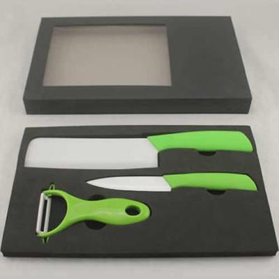 厨房不锈钢刀具套装陶瓷刀+陶瓷瓜刨三件礼品套装(多种颜色)