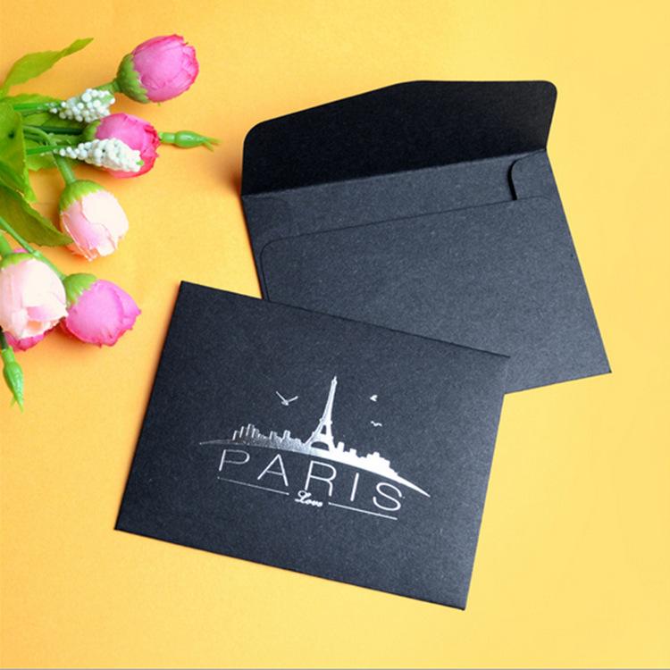 贺卡复古个性黑色烫金信封 特色装饰爱心小信封 定制厂家直销