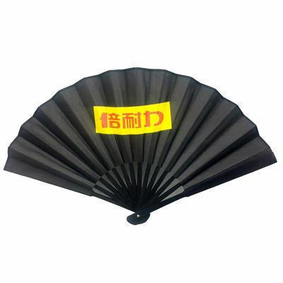 广告扇子批发 10寸15骨黑色竹骨绢扇纸扇 定制企业LOGO