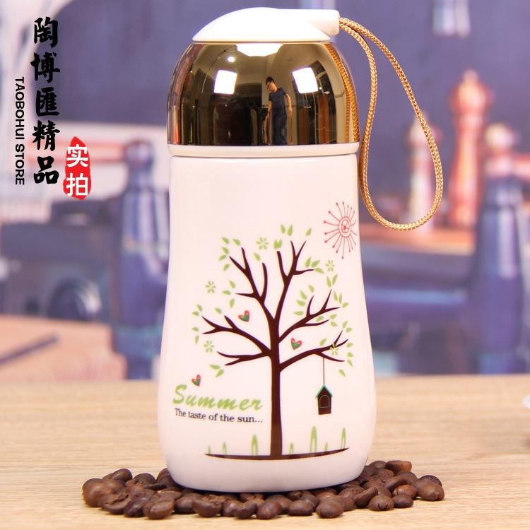 创意提绳陶瓷杯防烫马克水杯情侣杯子 创意礼品定制logo广告杯