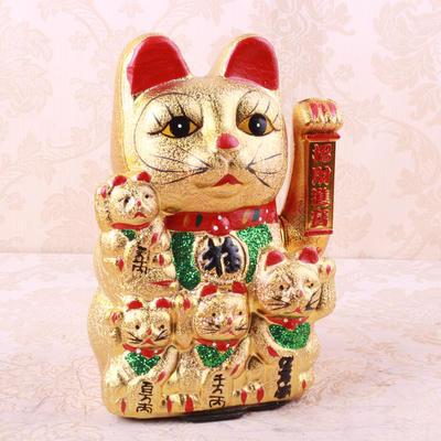 新款 陶瓷金色招财猫 招财陶瓷摆件 开业礼品店面摆件批发