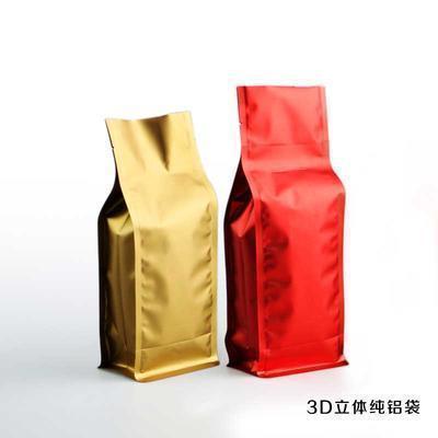 新款通用3D立体茶叶自立袋八边封纯铝箔锡纸批发