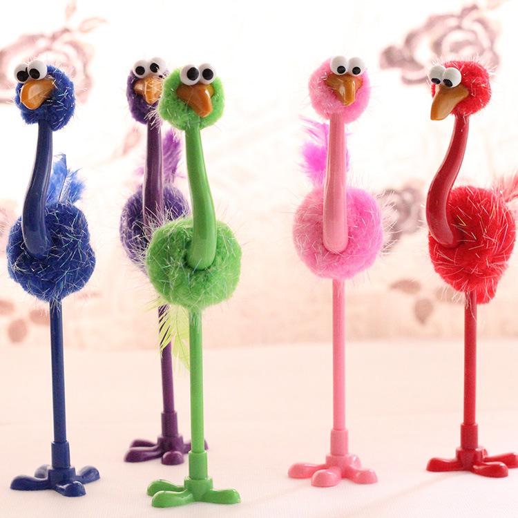 儿童礼品多彩鸵鸟圆珠笔批发 创意玩具笔 可爱人气韩国男女款文具