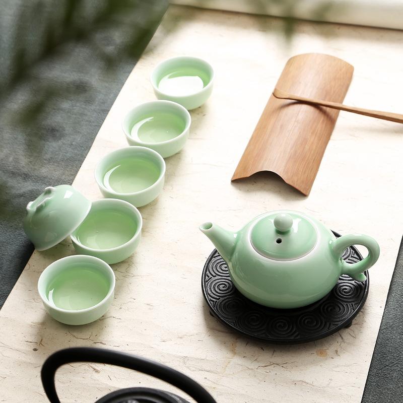 厂家直销 龙泉青瓷茶具套装鲤鱼杯特价礼品功夫陶瓷茶具 Logo定制