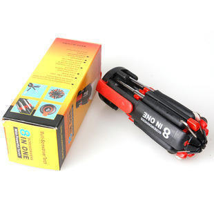 手动螺丝刀八头多功能带照明和3LED手电筒万用螺丝刀工具刀021kg