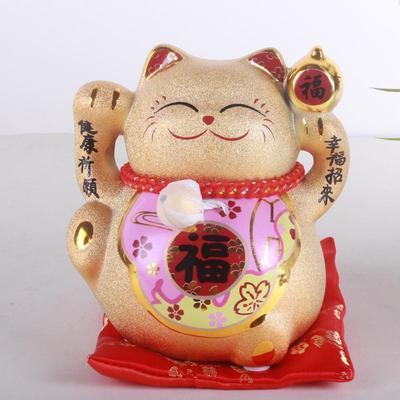 金色招财猫摆件 小号开业礼品储钱罐创意礼物家居饰品