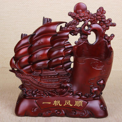 【新款】 仿木精品帆船摆件 一帆风顺树脂家居风水工艺品