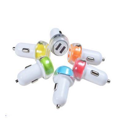 双USB水晶车充 6颜色 智能手机平板电脑通用车载充电器
