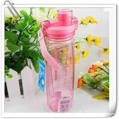 直销定制广告太空杯 大容量塑料运动水壶带过滤提绳双扣茶杯800ML