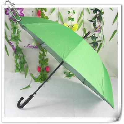 销售定做弯把10片银胶防紫外线广告伞 长柄太阳伞 钢架雨伞 印字