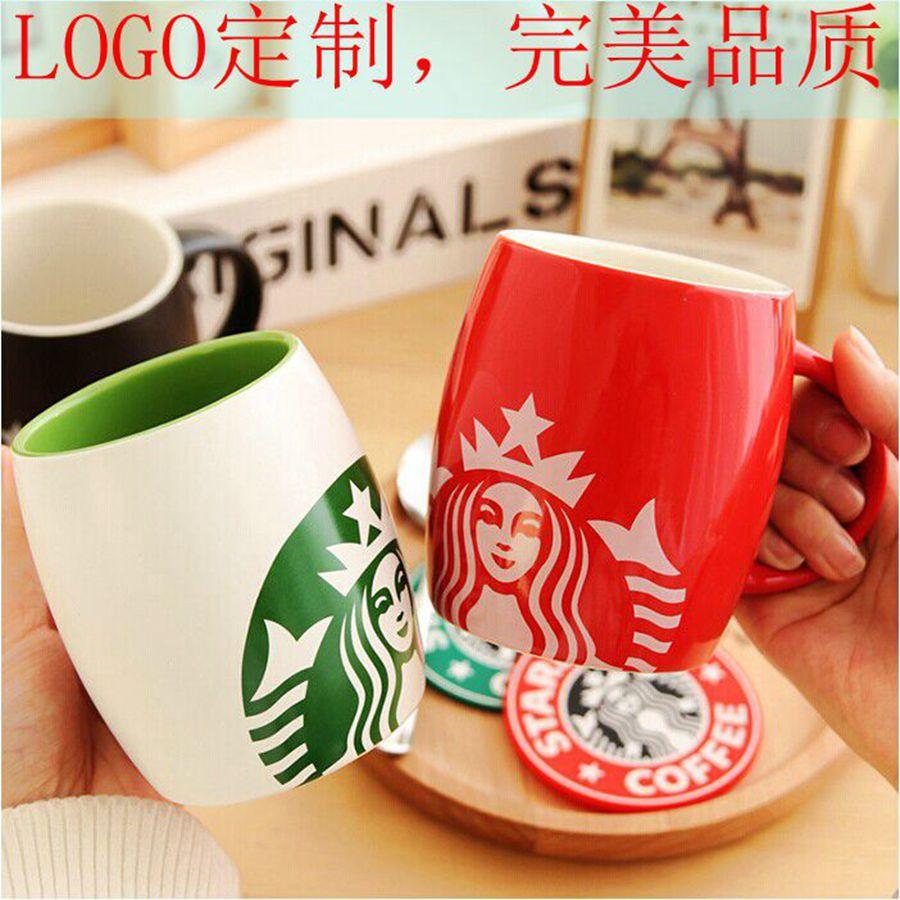 星巴克杯子 陶瓷马克杯带盖咖啡杯酒桶杯创意情侣杯水杯定制logo