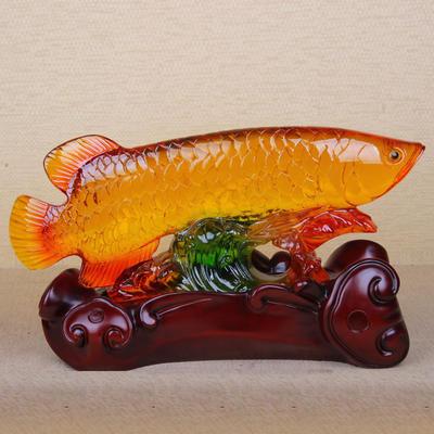 精品仿琉璃树脂工艺品摆件 金龙鱼招财店面摆件