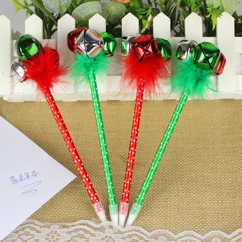 新款圣诞笔 圣诞节礼品 铃铛带羽毛圆珠笔 礼品奖品广告笔