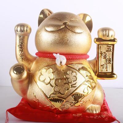 新款大号金色陶瓷日本正版招财猫工艺品 开业店面礼品批发