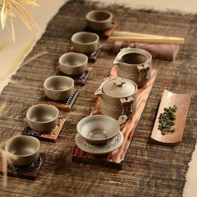 10头汉陶仿古陶瓷款式新颖造型独特会议商务活动礼品陶瓷茶具
