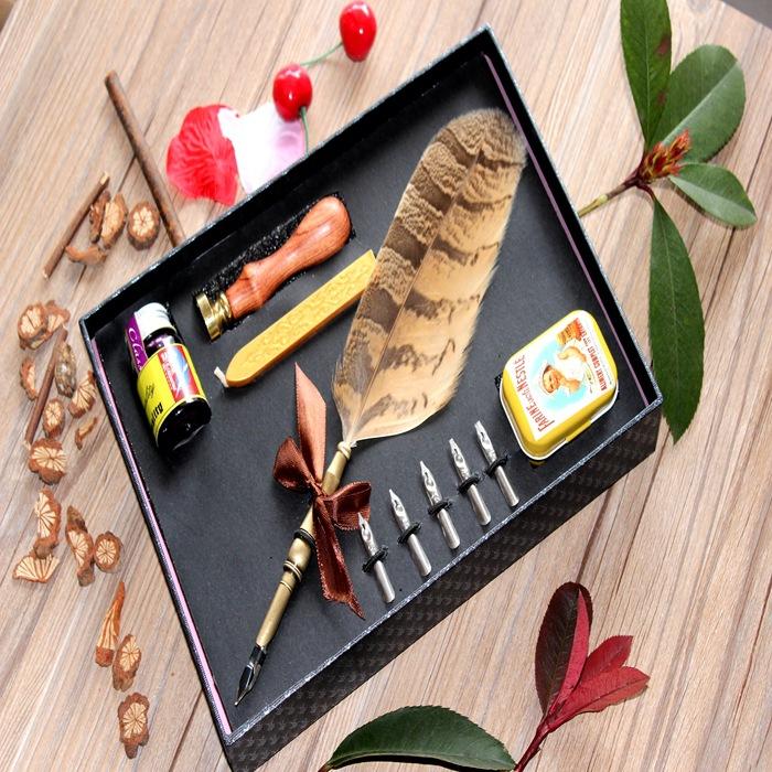 欧式哈利波特复古羽毛笔火漆印章礼盒高品质蘸水钢笔套装签字笔