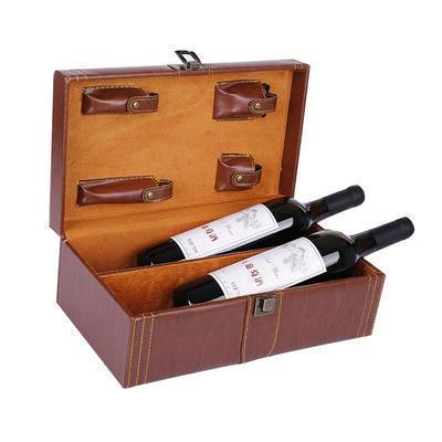 厂家批发红酒箱子 双支装皮盒 葡萄酒礼品盒 红酒盒子两只包装盒