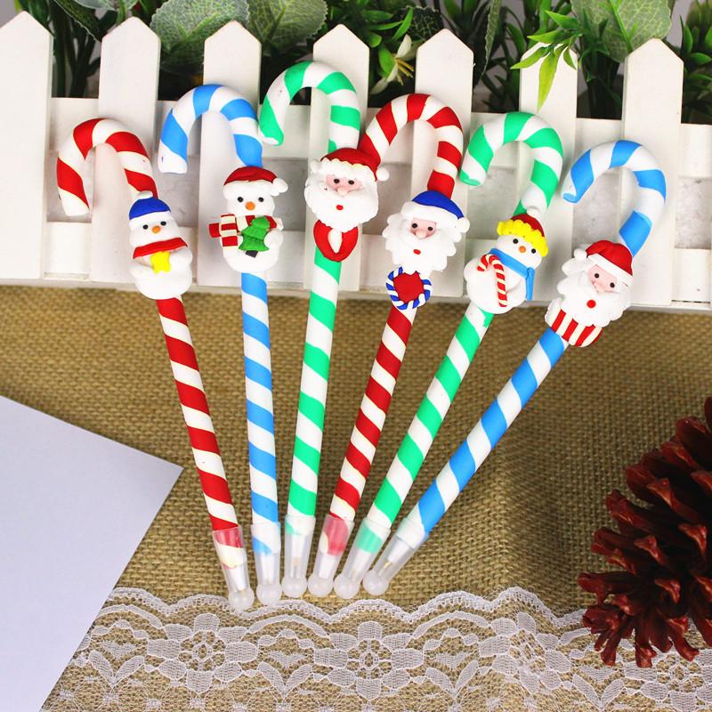现货圣诞软陶圆珠笔 卡通学生圆珠笔 圣诞礼物 圣诞拐杖圣诞笔