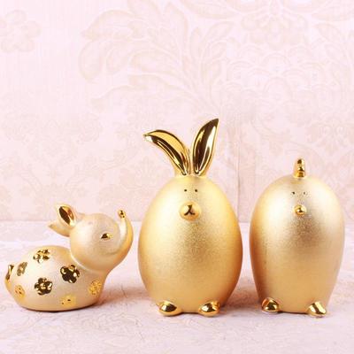 新款陶瓷欧式金色小鹿小兔小鸡工艺品摆件 创意家居礼品摆设